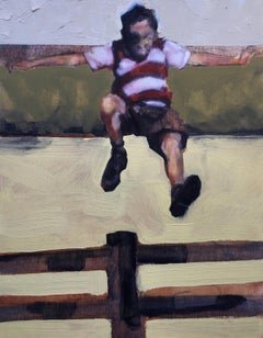 """Fence Jumper"", oil painting, figurative, boy, flight, field, outside, summer"