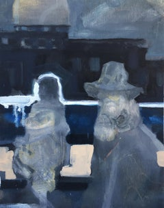 """Passers By"", oil painting, figurative, night, people, building, hat, cloak"