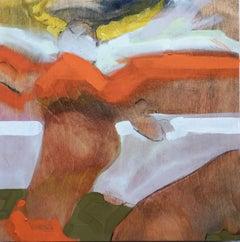 """Strange Angel"", oil painting, figurative, guardian, wings, spirit, orange, gold"