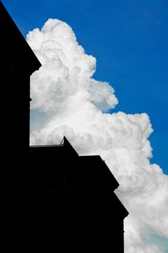"""""""Building With Cloud #2"""", photography, city, architecture, white cloud, blue sky"""