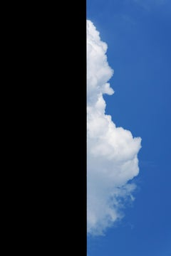 """""""Building With Cloud"""", photograph, city, architecture, geometry, blue sky shadow"""