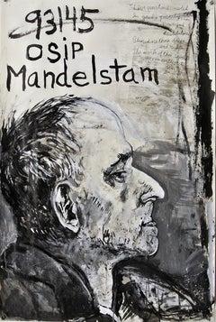 """Osip Mandelstam"", acrylic painting, portrait, political exile, poetry, resist"
