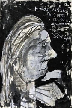 """Human Welfare"", acrylic painting, portrait, politics, Paris, humanity, resist"