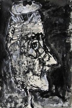 """Frazzle"", acrylic painting, portrait, politics, humanity, resist"