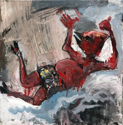"""Falling Figure"", acrylic painting, red devil, dream, myth, poetry, flight"