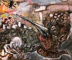 """Hillside"", acrylic painting, dream, myth, skull, graveyard, death, mortal coil"