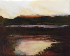 """Wetland at Dusk"", oil painting, encaustic, landscape, sky, mountain, field pond"