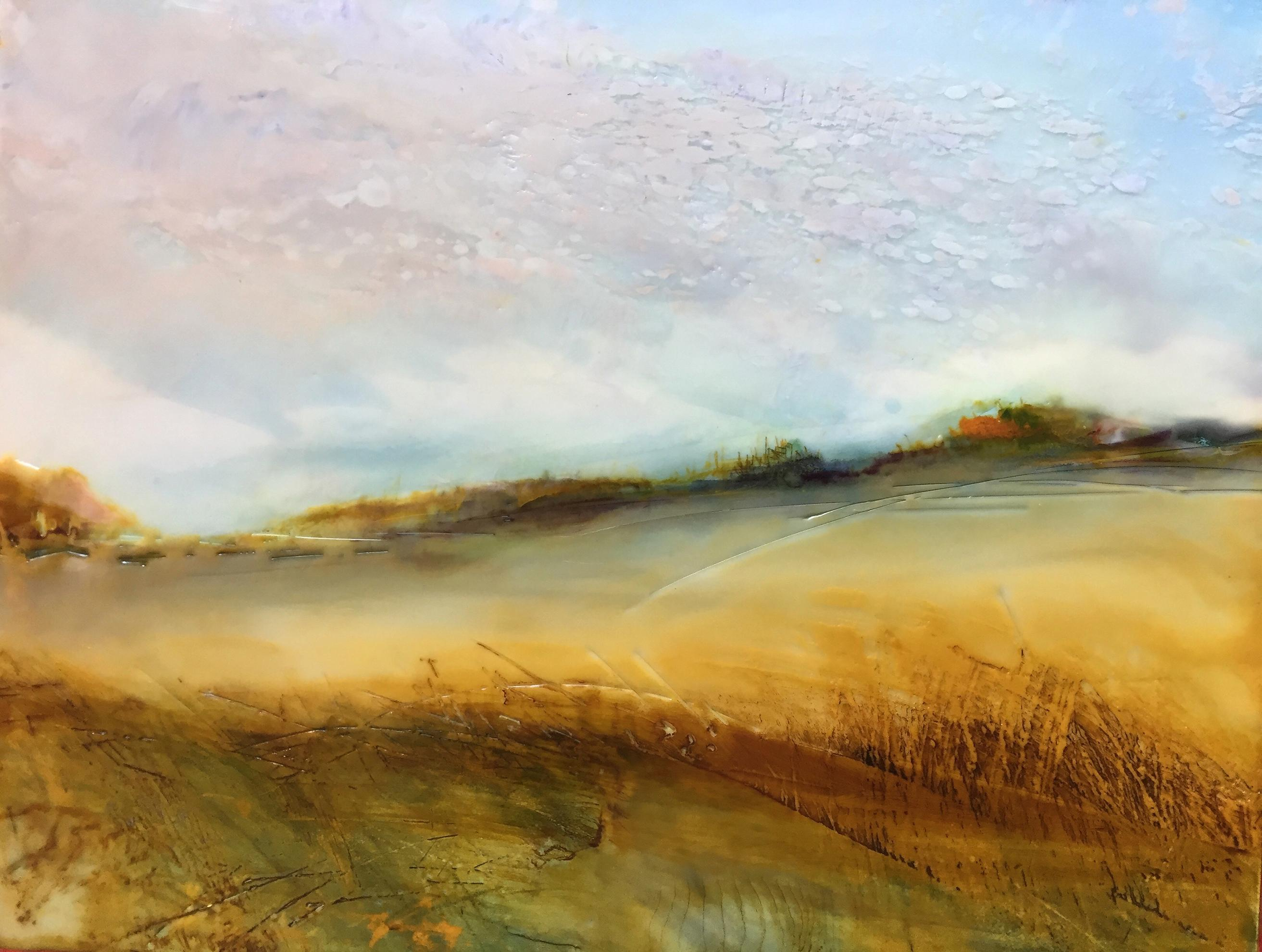 """""""October Morning"""", oil painting, encaustic, landscape, clouds, sky, field, gold"""