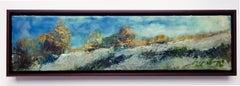 """""""Autumn Frost"""", oil painting, encaustic, landscape, clouds, sky, field, Vermont"""