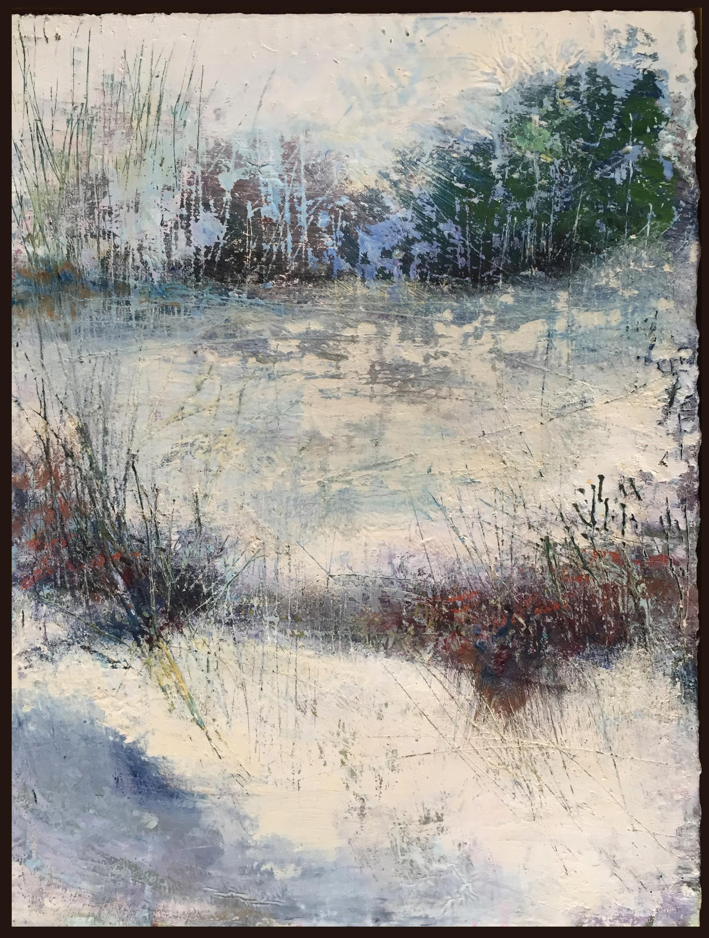 """""""As Winter Gives Way"""", oil painting, encaustic, landscape, field, snow, seasons"""