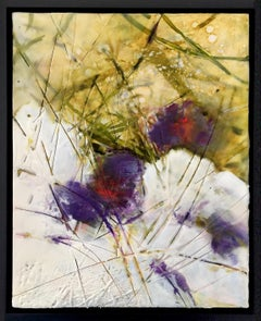 """Snow on Crocus"", oil painting, encaustic, landscape, flower, winter season"