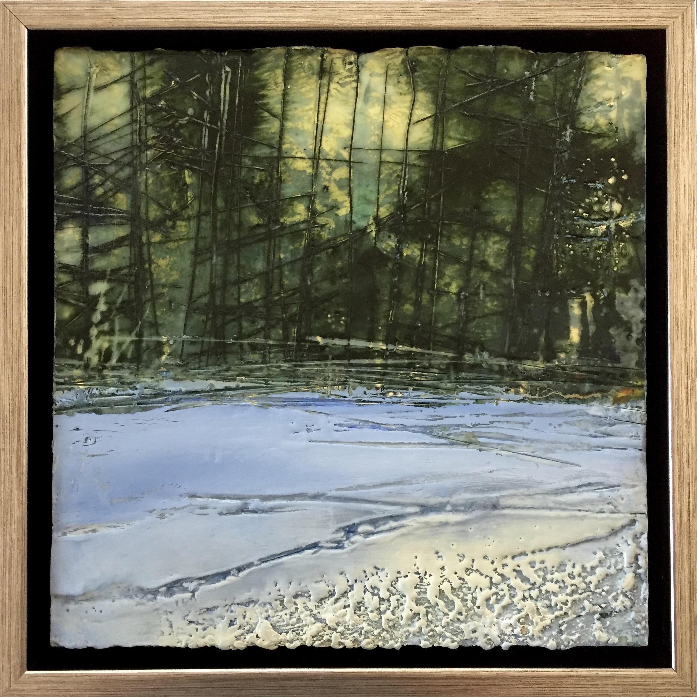 """Forest Edge"", oil painting, encaustic, landscape, snow, trees, green, blue"
