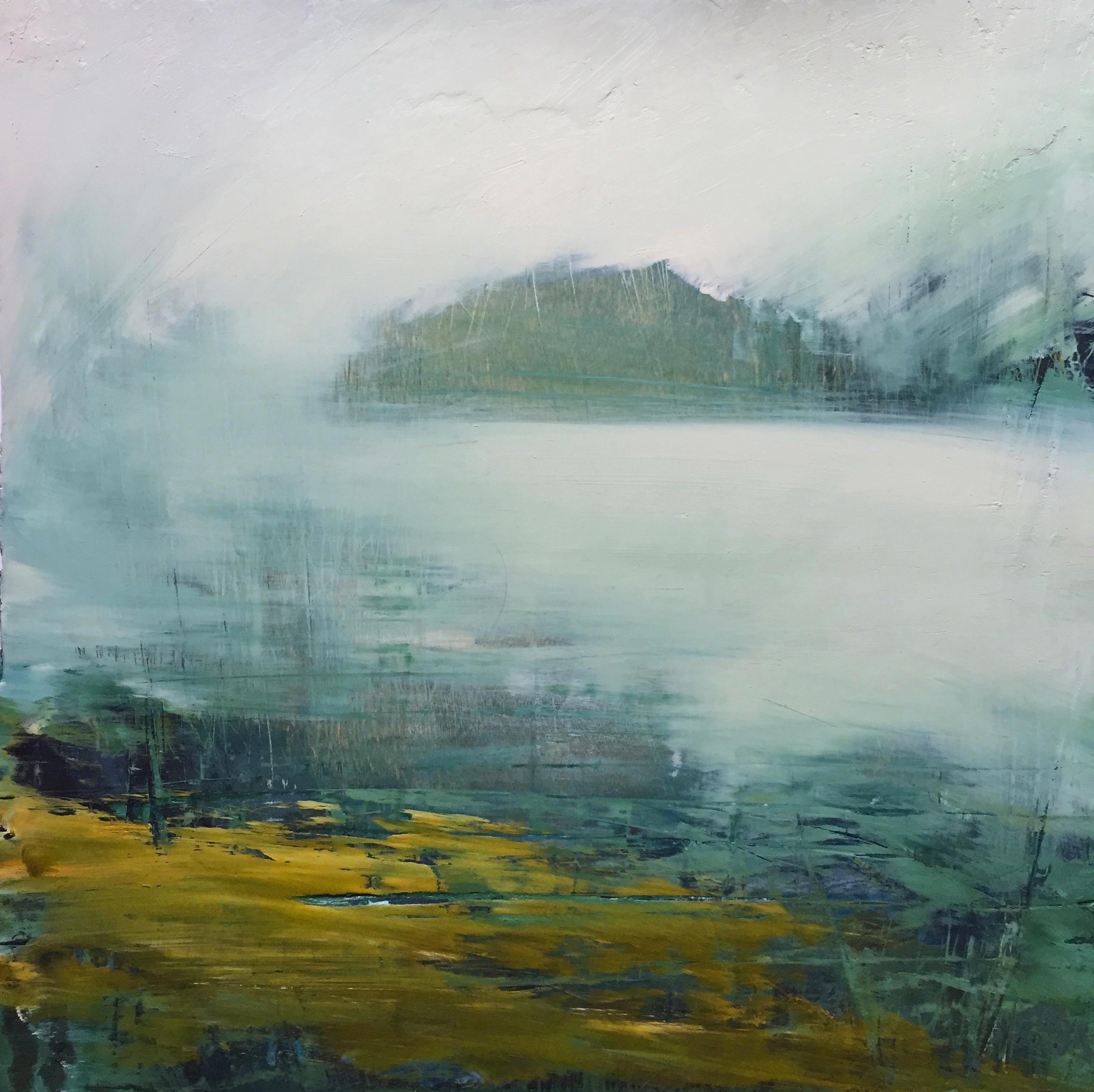 """Dawn"", oil painting, encaustic, landscape, fog, Hudson River, water, flora"