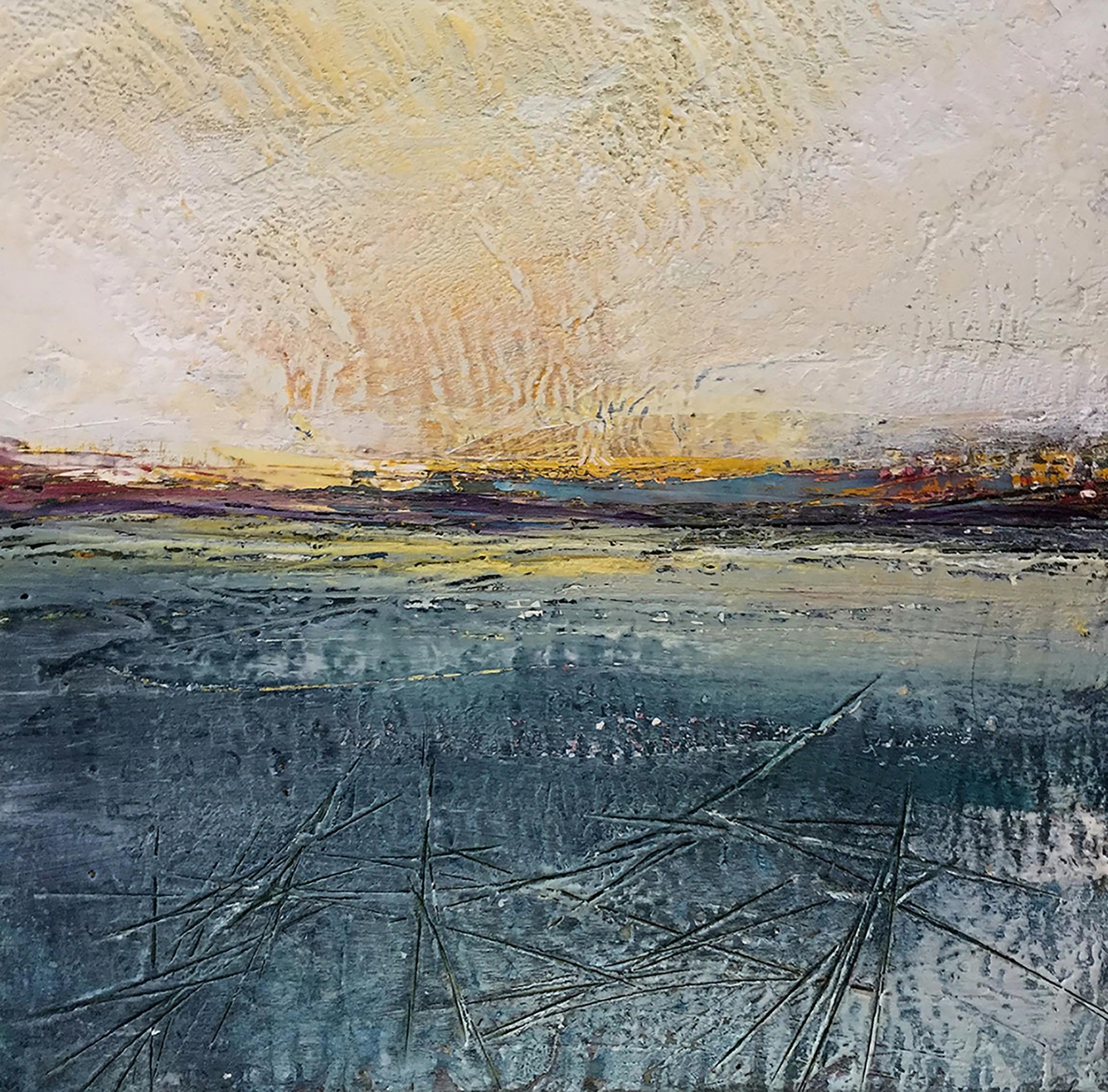 """""""Frozen Reservoir"""", oil painting, encaustic, landscape, ice, sun, winter sky"""