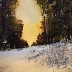 """Winter Berries"", oil painting, encaustic, landscape, snow, trees, sky, sunlight"