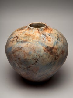 """""""Kintsugi Moon Jar"""", ceramic sculpture, porcelain vase, gold blue brown, saggar"""