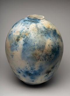 """""""Spotted Blue Moon Jar"""", ceramic sculpture, porcelain vase, saggar fire, cobalt"""