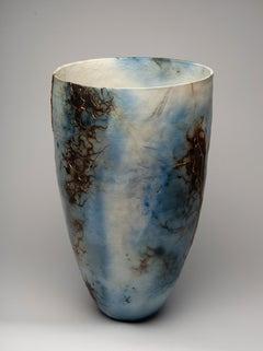 """Blue Lagoon"", ceramic sculpture, porcelain vase, saggar, blue, copper, gold"