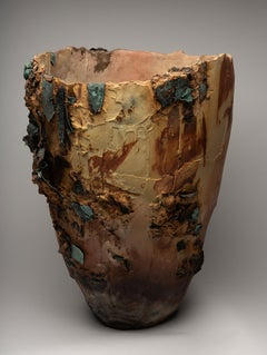 """""""Magma"""", ceramic sculpture, porcelain vase, saggar, copper earth, burnt offering"""