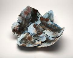 """Approaching Storm"", ceramic sculpture, porcelain shards, saggar, blue, copper"