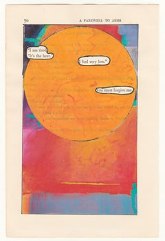 """""""#70 – I AM TIRED"""", ink, pencil, gouache, collage, vintage, hemingway, poetry"""