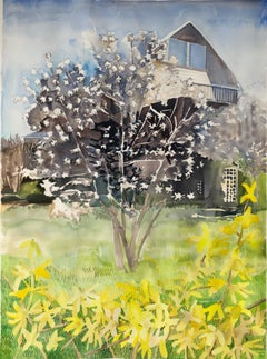 """STELLATA MAGNOLIA 2"", watercolor, tree, flowers, forsythia, home, architecture"