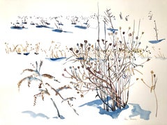 """""""WINTER SEEDS 3"""", watercolor, new england, snow, wild flowers, seeds, white, ice"""