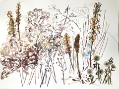 """""""WINTER SEEDS 4"""", watercolor, new england, snow, wild flowers, seeds, white, ice"""