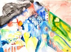 """SOUL MOUNTAIN"", watercolor, landscape, sky, stone, clouds, green, blue, rose"