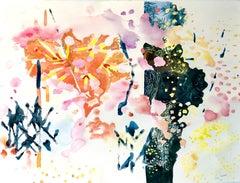 """SECRET GARDEN 1"", watercolor, flowers, foliage, day, night, sky, sparkling, wet"
