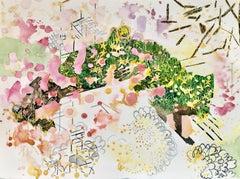 """SECRET GARDEN 2"", watercolor, flowers, foliage, sky, sparkling, patterns, stars"