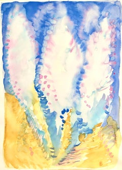 """""""DREAM 1"""", watercolor, abstract flowers, cypresses, feathers, lilac, gold, blue"""