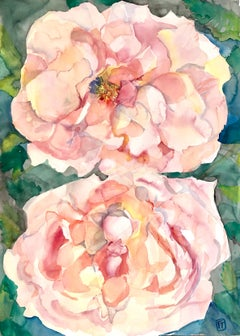 """""""TWO ROSES"""", watercolor, flowers, petals, rose, pink, green leaves, beauty, love"""