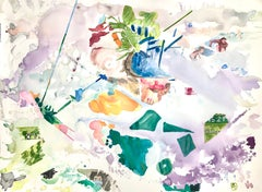 """""""MEMORY BOX"""", abstract watercolor, change, journey, family, map, green, mauve"""