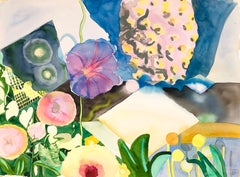 """""""MY OUT-OF-REACH GARDEN"""", abstract watercolor, memory, flowers, stars, textile"""
