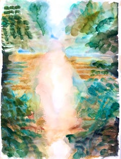 """""""TRANSFIGURATION"""", abstract watercolor, landscape, trees, water, green, blue sky"""