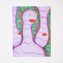 Beings Colorful Drawing Work on Paper Contemporary Surrealist Faces Lips Purple