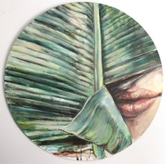 'Skins' Original oil on wood painting green palm plant lips