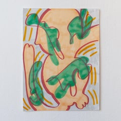 Wiggle - 2019 Marker Drawing - Contemporary Green Orange Abstract 12 x 9