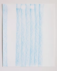 Contemporary crayon on paper drawing by GJ Kimsunken 'Victor' blue