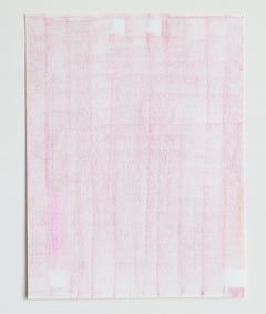Contemporary crayon on paper drawing by GJ Kimsunken 'Christine' Blush Pink
