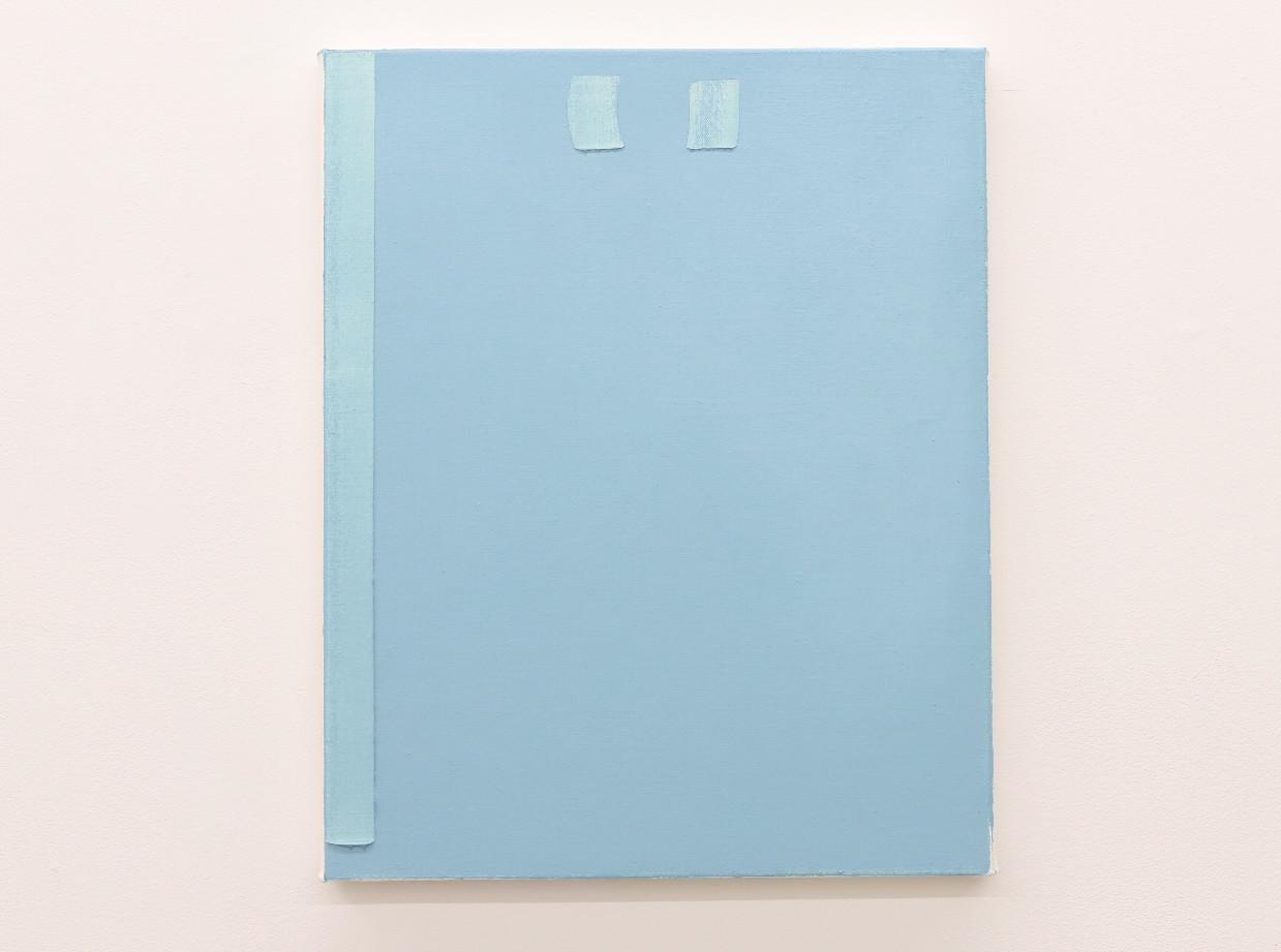 Contemporary blue minimalist oil painting by GJ Kimsunken 'Figuration 19. 12'