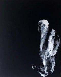 "Black and White original acrylic canvas painting ""Mirage & Damnation #12"""