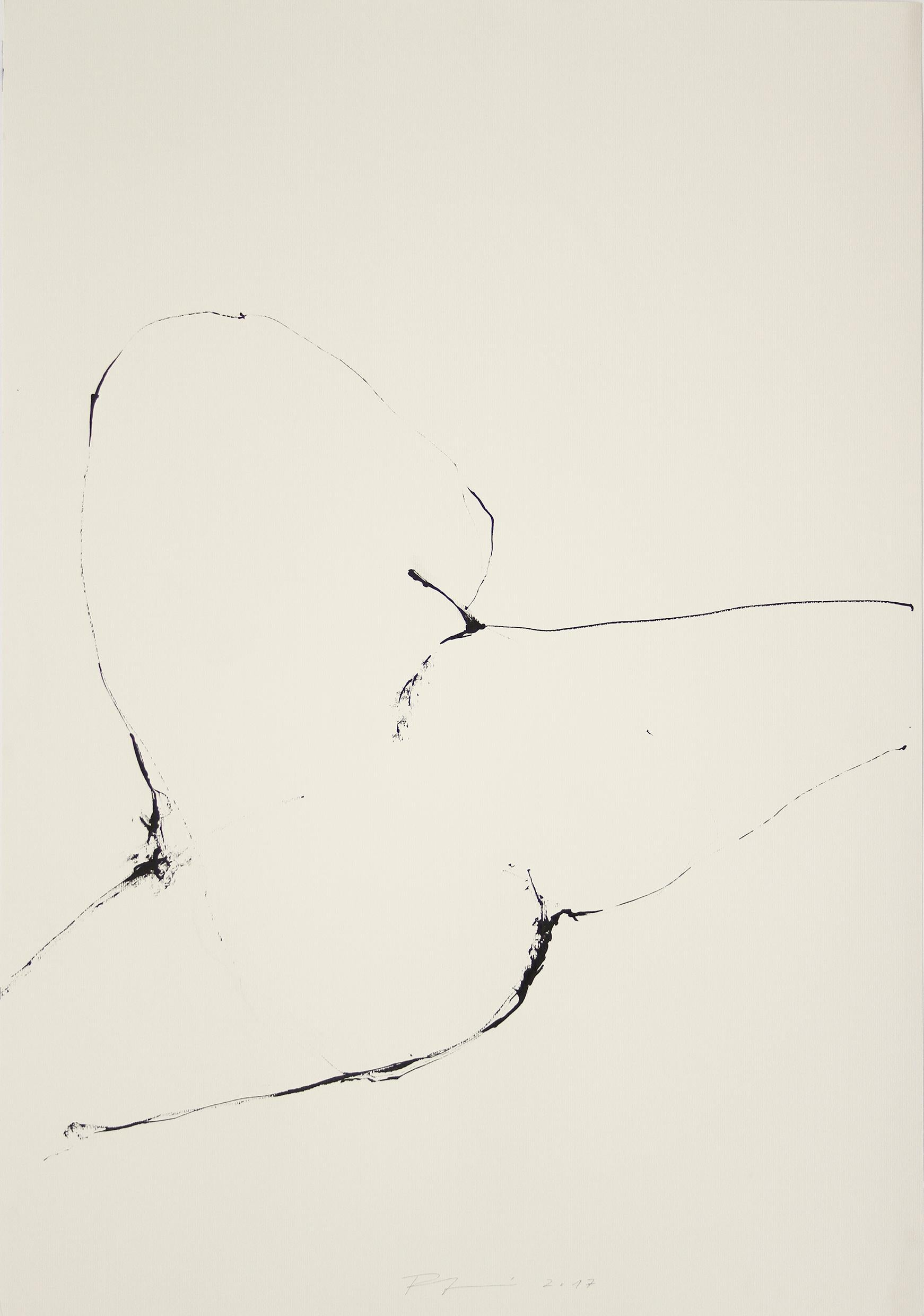 Large Original line drawing 'Mirage and Damnation (Nude I)' Ink on paper Figure