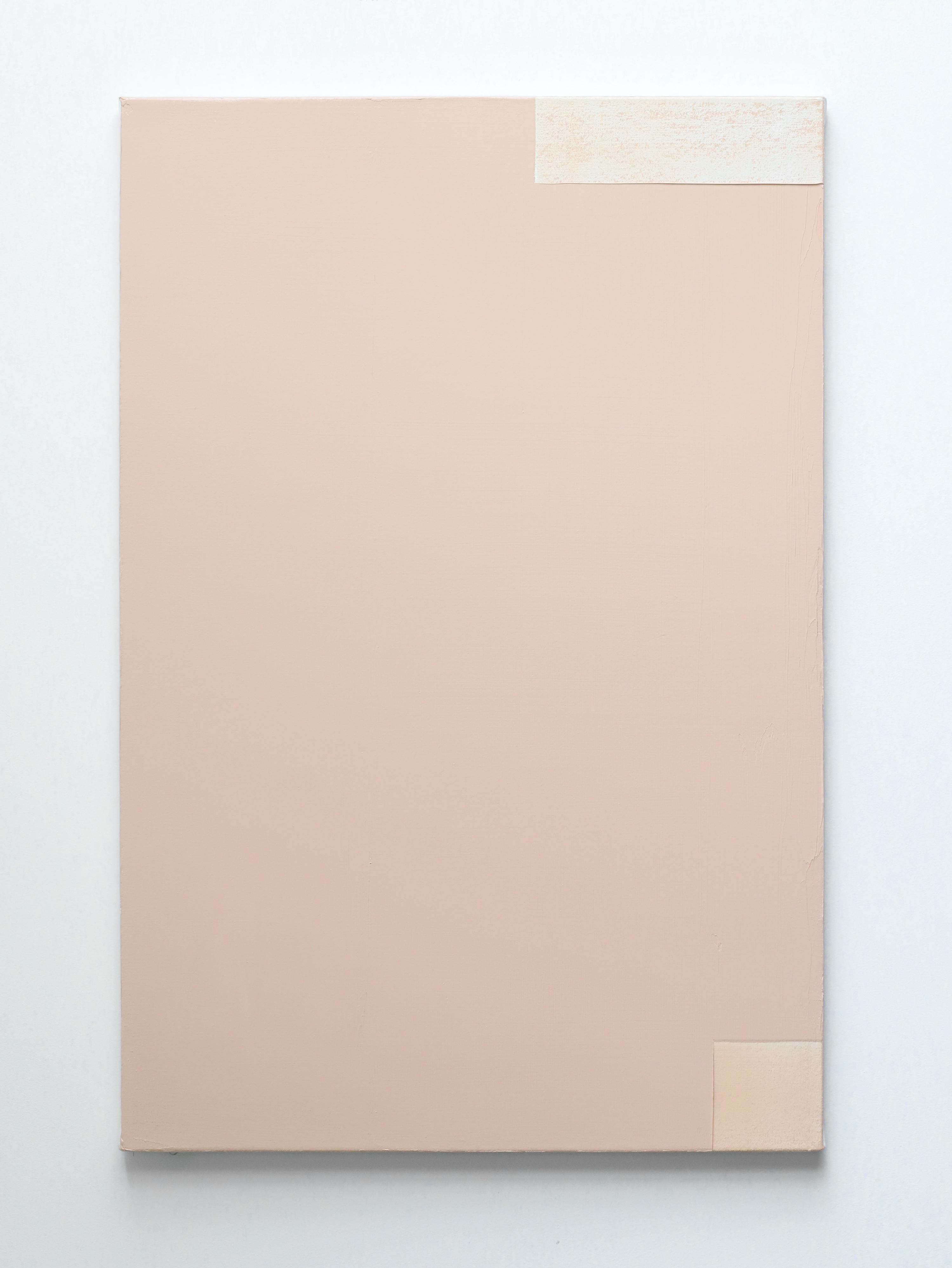 Contemporary minimalist oil painting by GJ Kimsunken 'Figuration 20.3' Beige