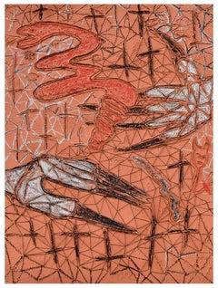 'The Journey 2', Original mixed media art on canvas, caulk, oil, embroidery