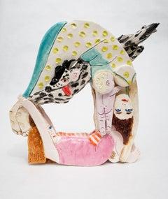 'Double Forward Roll' Original glazed ceramic unique mother child dog sculpture