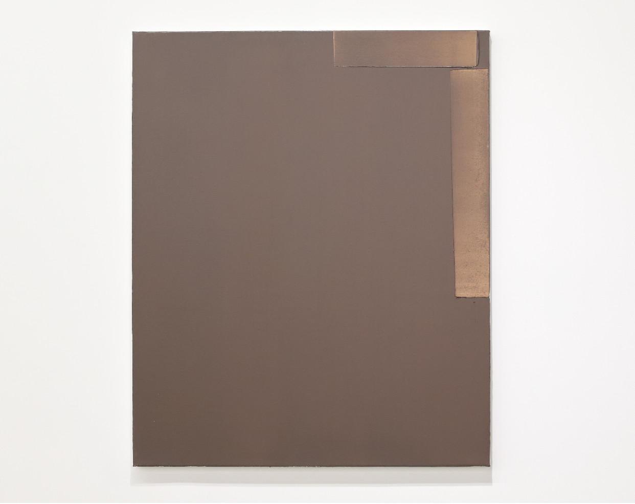 Contemporary minimalist oil painting by GJ Kimsunken 'Figuration 19.7' Chocolate