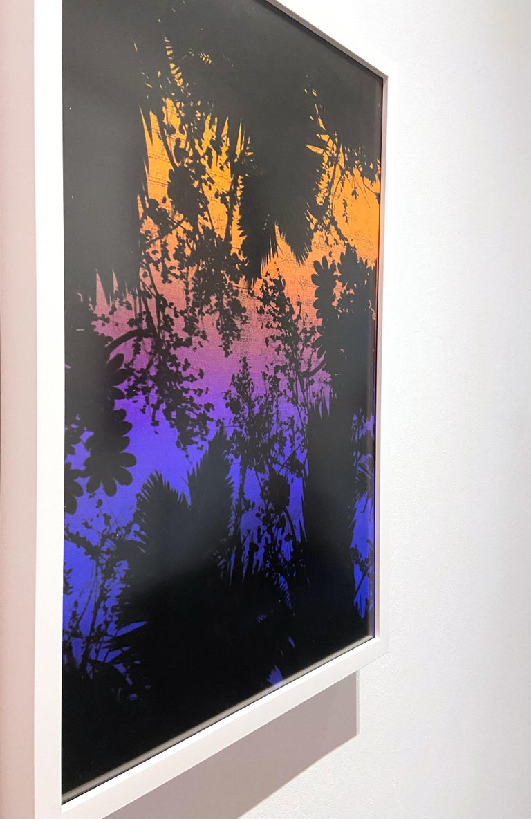 Dusk/Daybreak 2 Framed Color Photography Print  30 x 20 in. Sunset Purple Palm For Sale 3