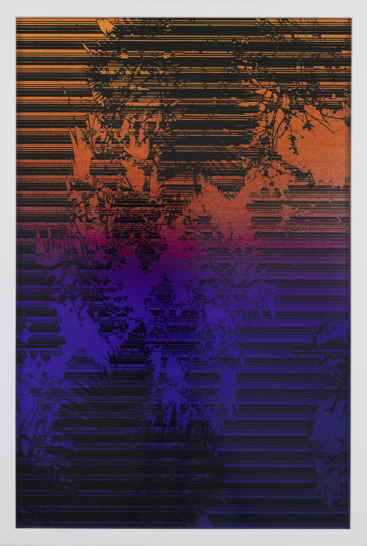 Lionel Cruet Landscape Photograph - Dusk/Daybreak 3 Framed Color Photography Print  30 x 20 in. Cerulean Fuschia